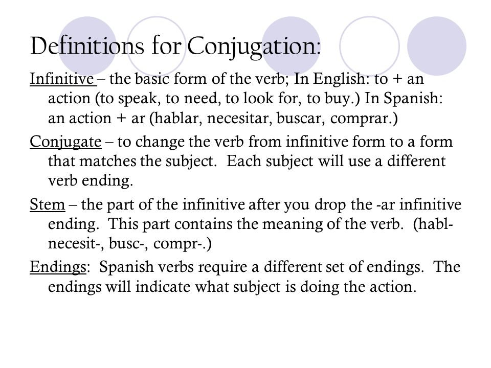 Definitions for Conjugation: Infinitive – the basic form of the verb; In English: to + an action (to speak, to need, to look for, to buy.) In Spanish: