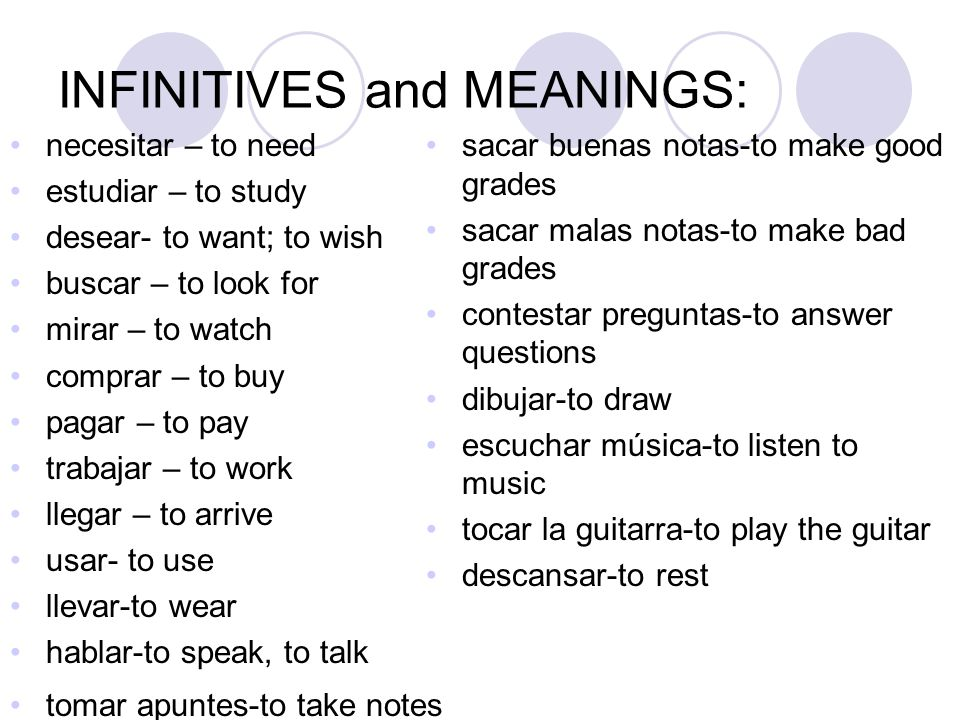 INFINITIVES and MEANINGS: necesitar – to need estudiar – to study desear- to want; to wish buscar – to look for mirar – to watch comprar – to buy paga