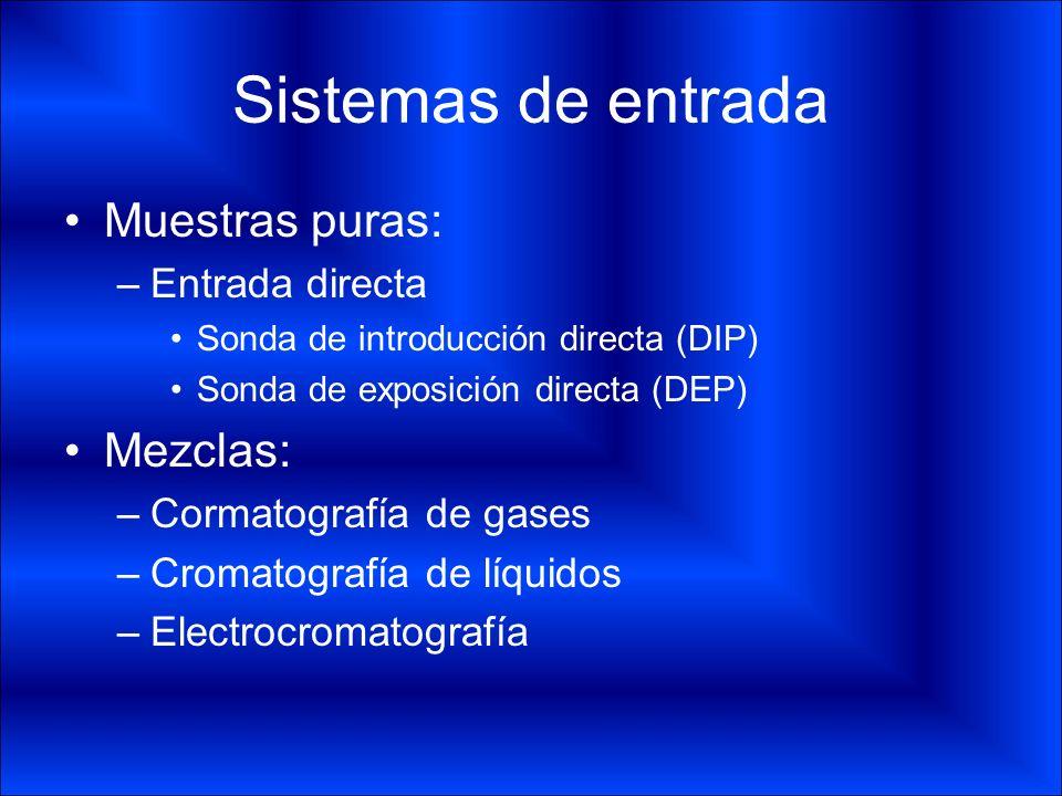 Sistemas de entrada Muestras puras: –Entrada directa Sonda de introducción directa (DIP) Sonda de exposición directa (DEP) Mezclas: –Cormatografía de