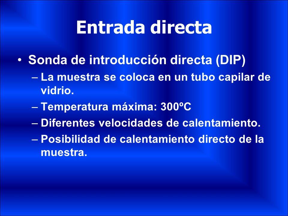 Entrada directa Sonda de introducción directa (DIP) –La muestra se coloca en un tubo capilar de vidrio. –Temperatura máxima: 300ºC –Diferentes velocid