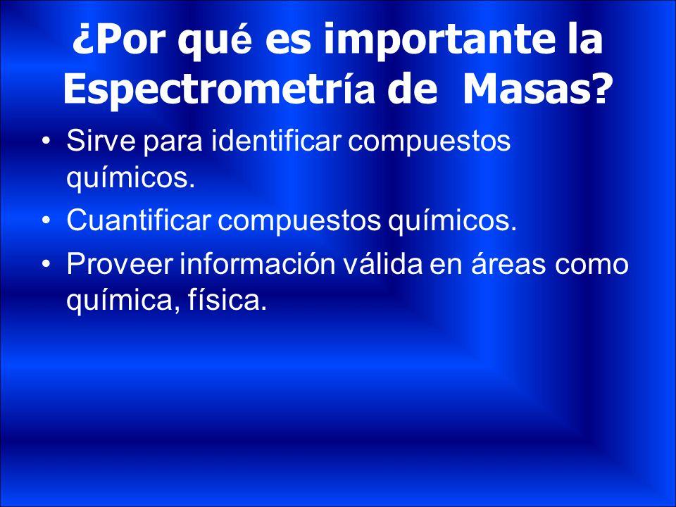¿Por qu é es importante la Espectrometr ía de Masas? Sirve para identificar compuestos químicos. Cuantificar compuestos químicos. Proveer información