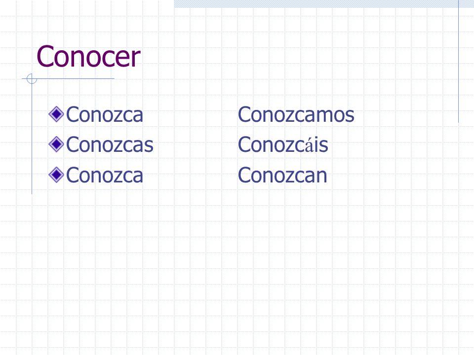 Conocer ConozcaConozcamos ConozcasConozc á is ConozcaConozcan