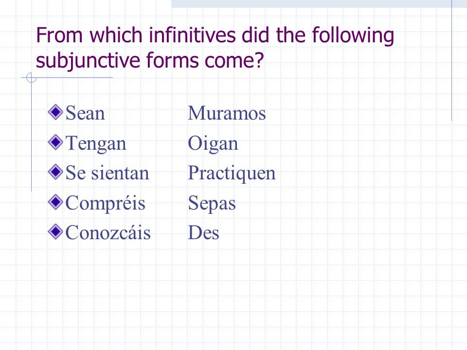 From which infinitives did the following subjunctive forms come? SeanMuramos TenganOigan Se sientanPractiquen CompréisSepas ConozcáisDes