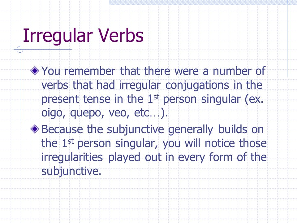 Here is a review of the formula found in this section: Subject #1 + verb #1 + que + subject #2 + verb #2 The first person (subject #1) wants, wishes, insists, suggests (verb #1) that (que) (subject #2) do something (verb #2)