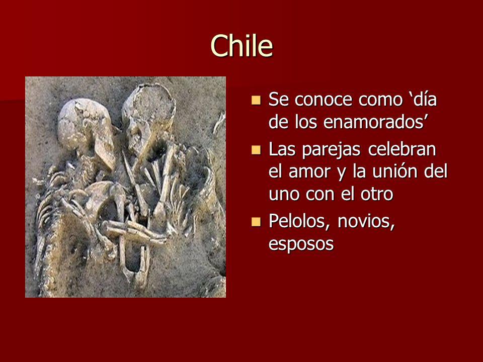 Chile Se conoce como día de los enamorados Se conoce como día de los enamorados Las parejas celebran el amor y la unión del uno con el otro Las pareja