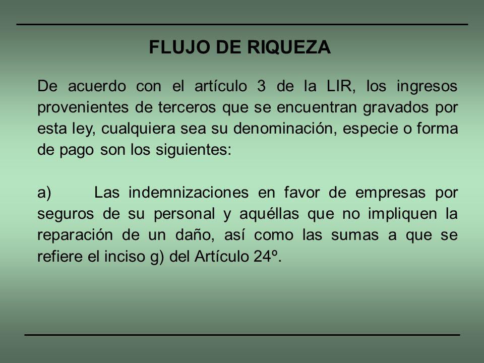 De acuerdo con el artículo 3 de la LIR, los ingresos provenientes de terceros que se encuentran gravados por esta ley, cualquiera sea su denominación,