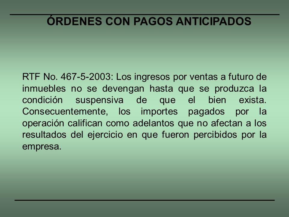 RTF No. 467-5-2003: Los ingresos por ventas a futuro de inmuebles no se devengan hasta que se produzca la condición suspensiva de que el bien exista.