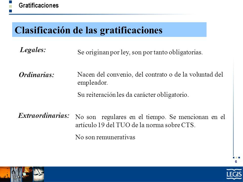 6 Gratificaciones Clasificación de las gratificaciones No son regulares en el tiempo. Se mencionan en el artículo 19 del TUO de la norma sobre CTS. No