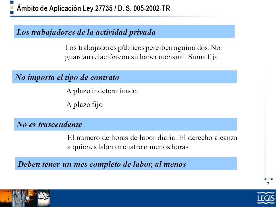 7 Ámbito de Aplicación Ley 27735 / D. S. 005-2002-TR El número de horas de labor diaria. El derecho alcanza a quienes laboran cuatro o menos horas. Lo