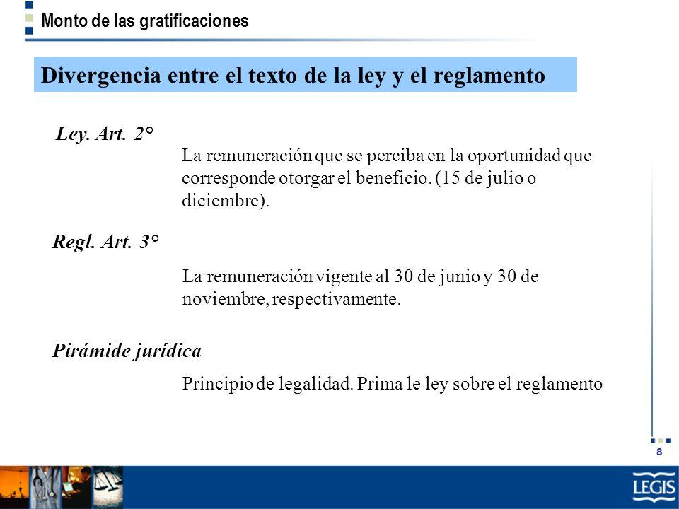 8 Monto de las gratificaciones Divergencia entre el texto de la ley y el reglamento Ley. Art. 2° La remuneración que se perciba en la oportunidad que