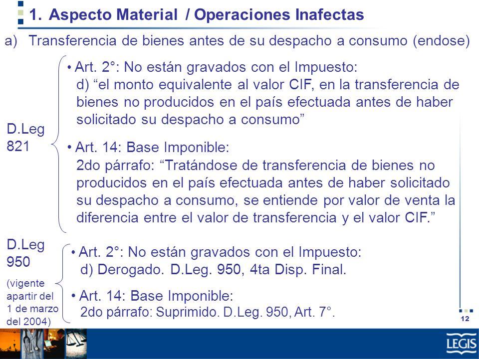 12 1.Aspecto Material / Operaciones Inafectas Art. 2°: No están gravados con el Impuesto: d) el monto equivalente al valor CIF, en la transferencia de