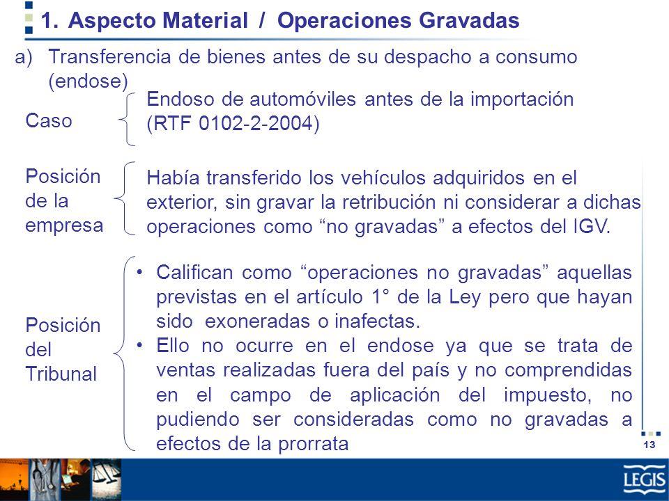 13 1.Aspecto Material / Operaciones Gravadas Había transferido los vehículos adquiridos en el exterior, sin gravar la retribución ni considerar a dich