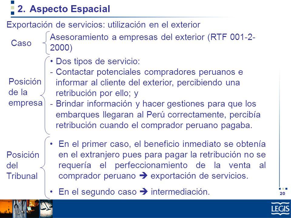 20 2.Aspecto Espacial Dos tipos de servicio: -Contactar potenciales compradores peruanos e informar al cliente del exterior, percibiendo una retribuci