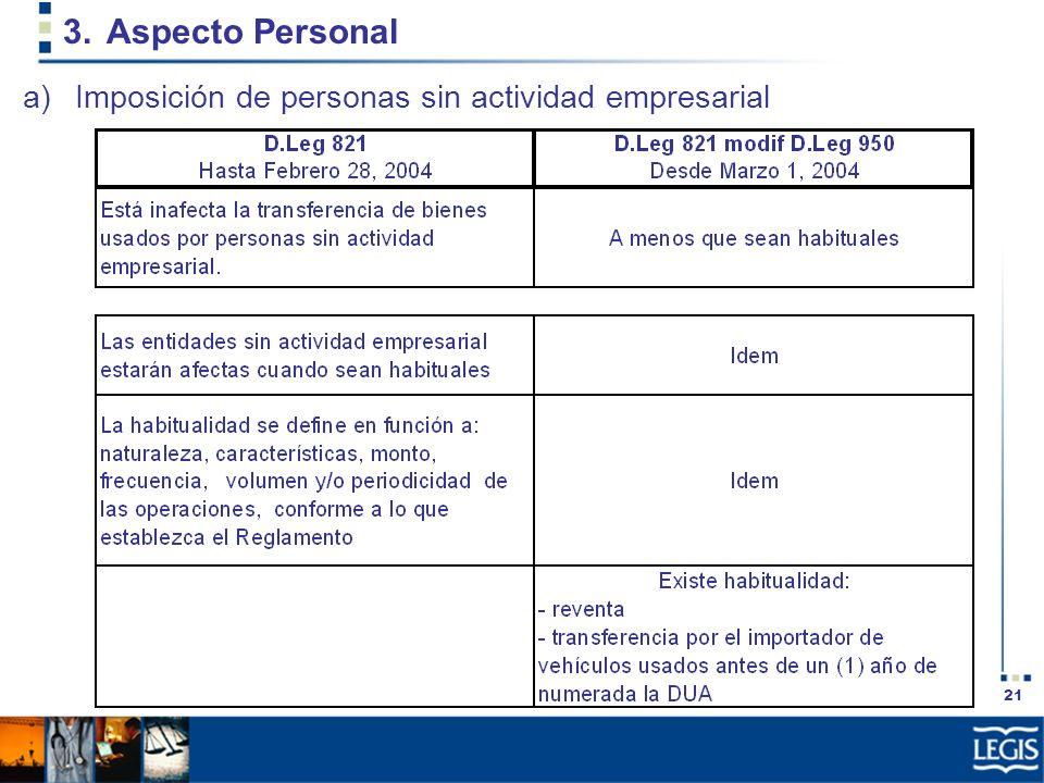21 3.Aspecto Personal a)Imposición de personas sin actividad empresarial