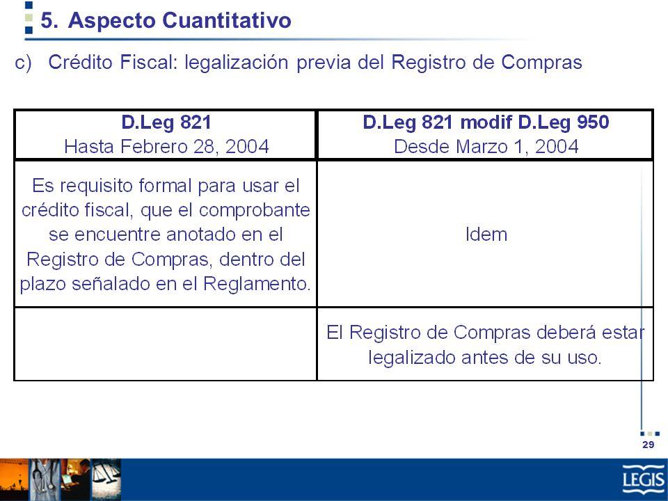 29 5.Aspecto Cuantitativo c)Crédito Fiscal: legalización previa del Registro de Compras