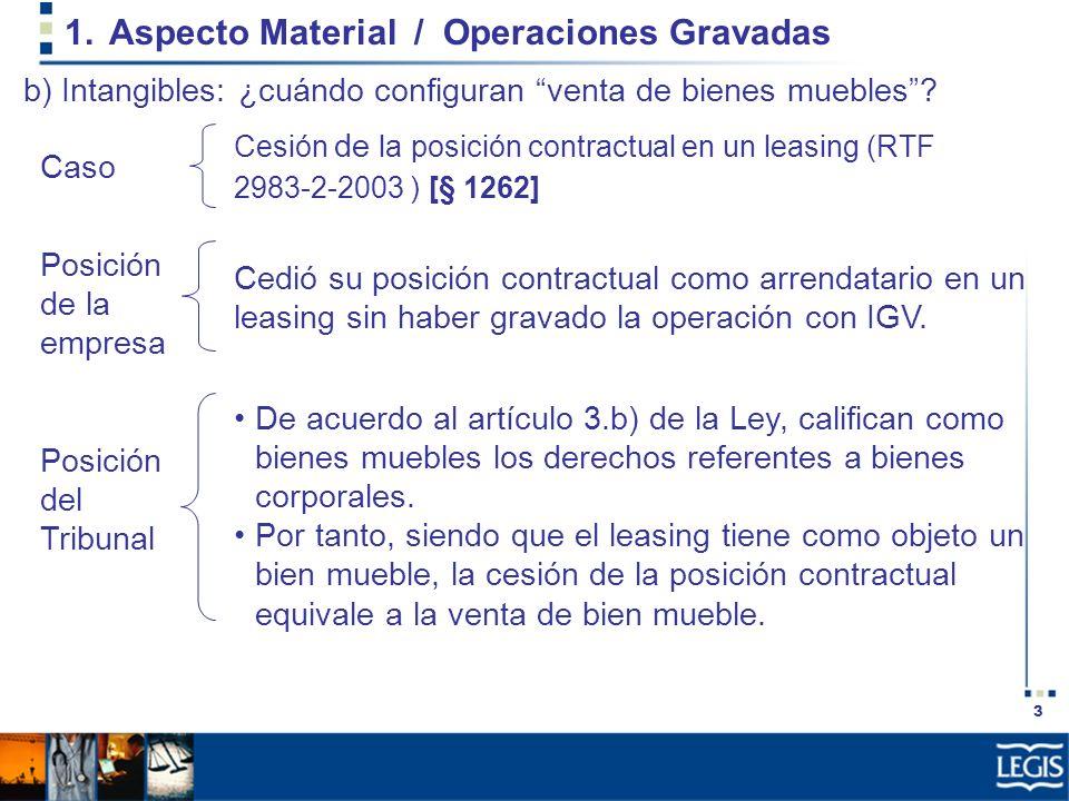 3 1.Aspecto Material / Operaciones Gravadas Cedió su posición contractual como arrendatario en un leasing sin haber gravado la operación con IGV. Cesi