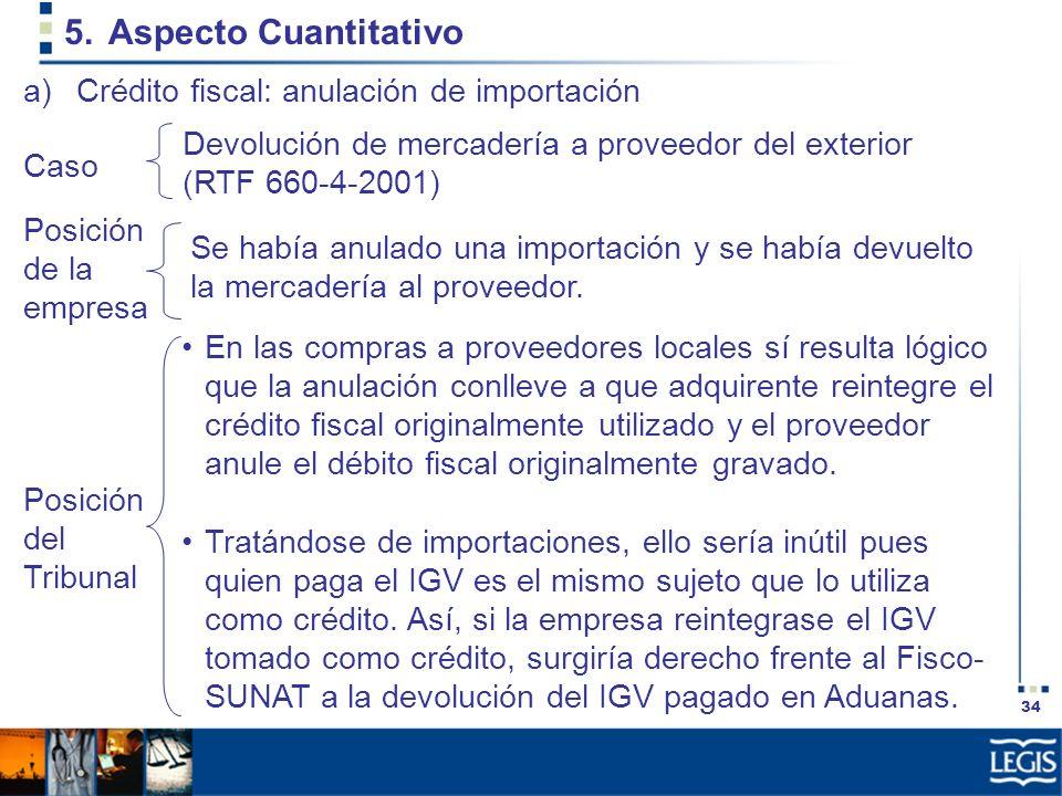 34 5.Aspecto Cuantitativo Devolución de mercadería a proveedor del exterior (RTF 660-4-2001) a)Crédito fiscal: anulación de importación Posición de la