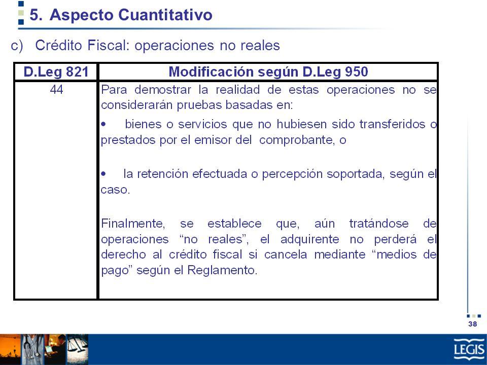 38 5.Aspecto Cuantitativo c)Crédito Fiscal: operaciones no reales