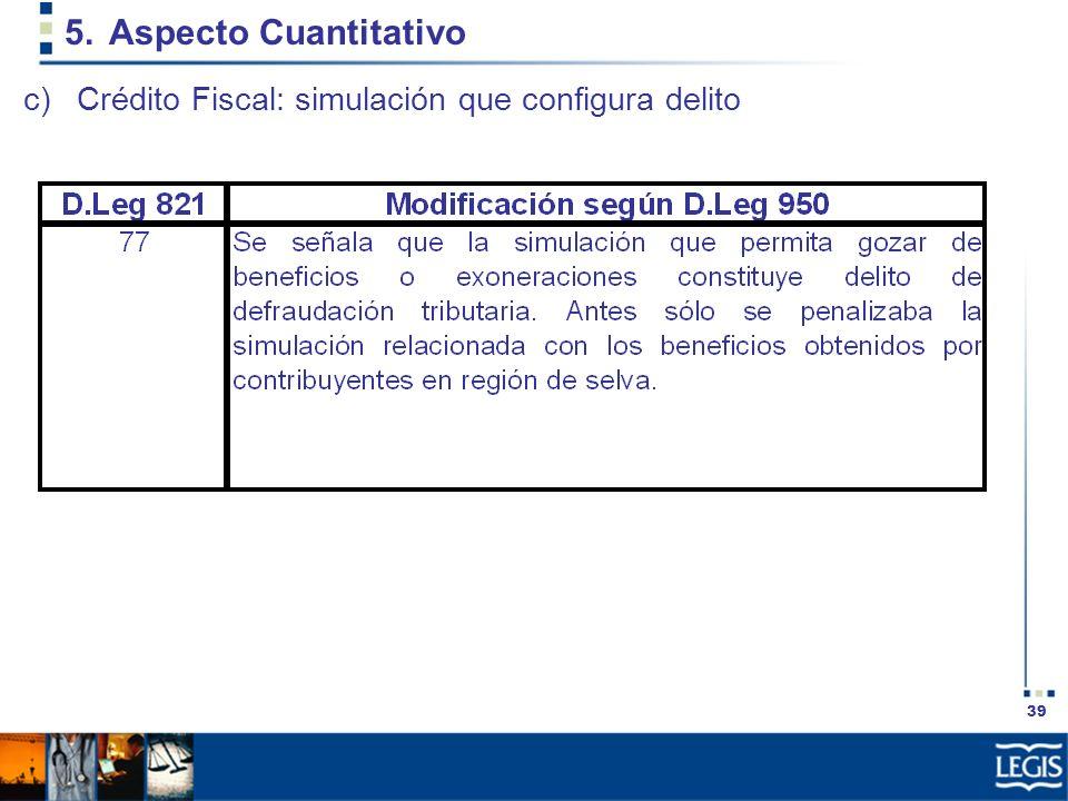 39 5.Aspecto Cuantitativo c)Crédito Fiscal: simulación que configura delito