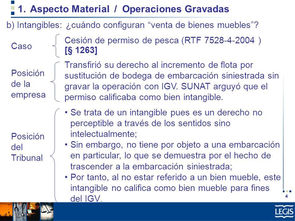 4 1.Aspecto Material / Operaciones Gravadas Transfirió su derecho al incremento de flota por sustitución de bodega de embarcación siniestrada sin grav