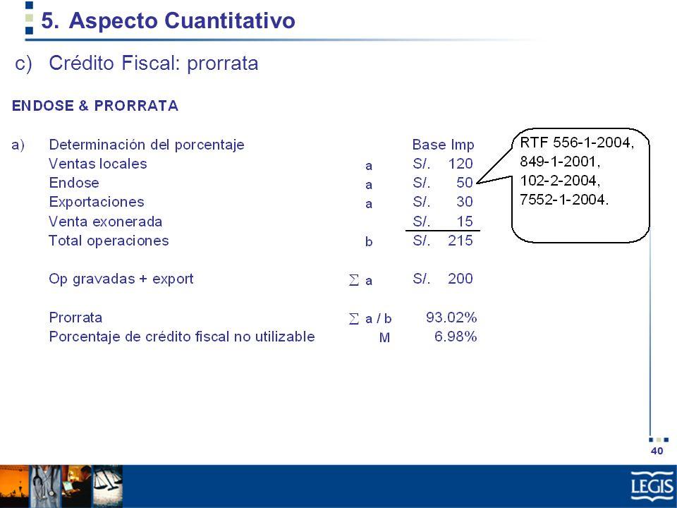 40 5.Aspecto Cuantitativo c)Crédito Fiscal: prorrata