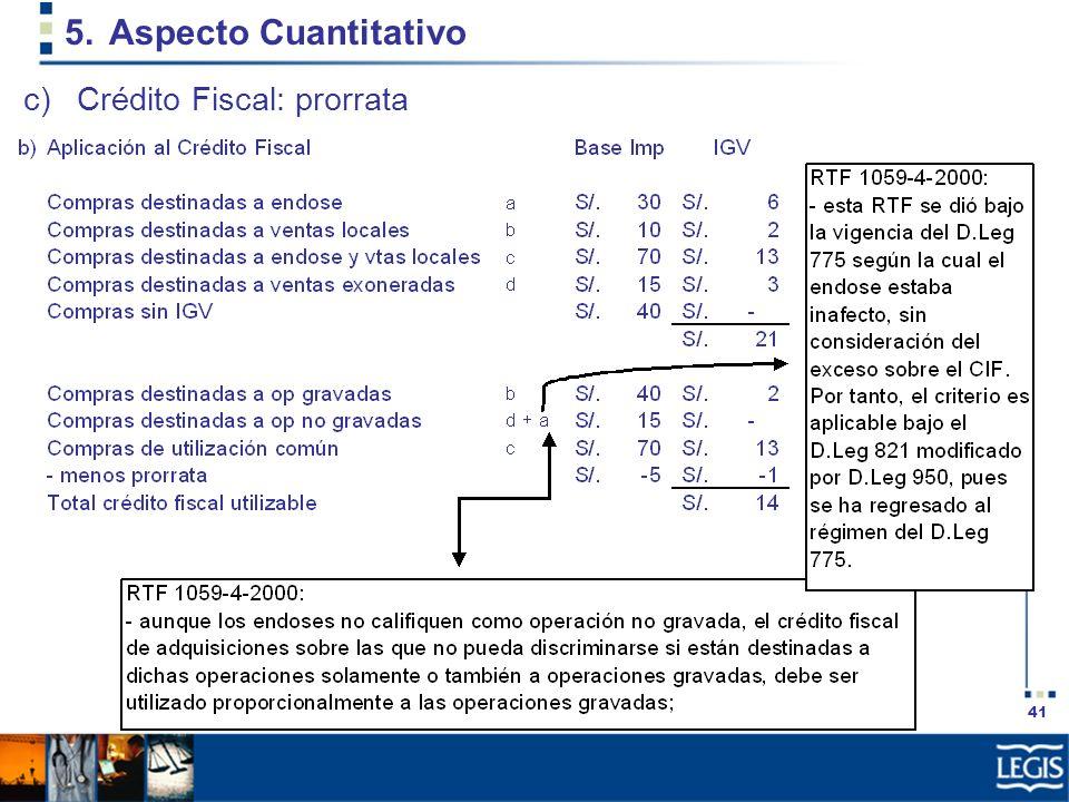 41 5.Aspecto Cuantitativo c)Crédito Fiscal: prorrata