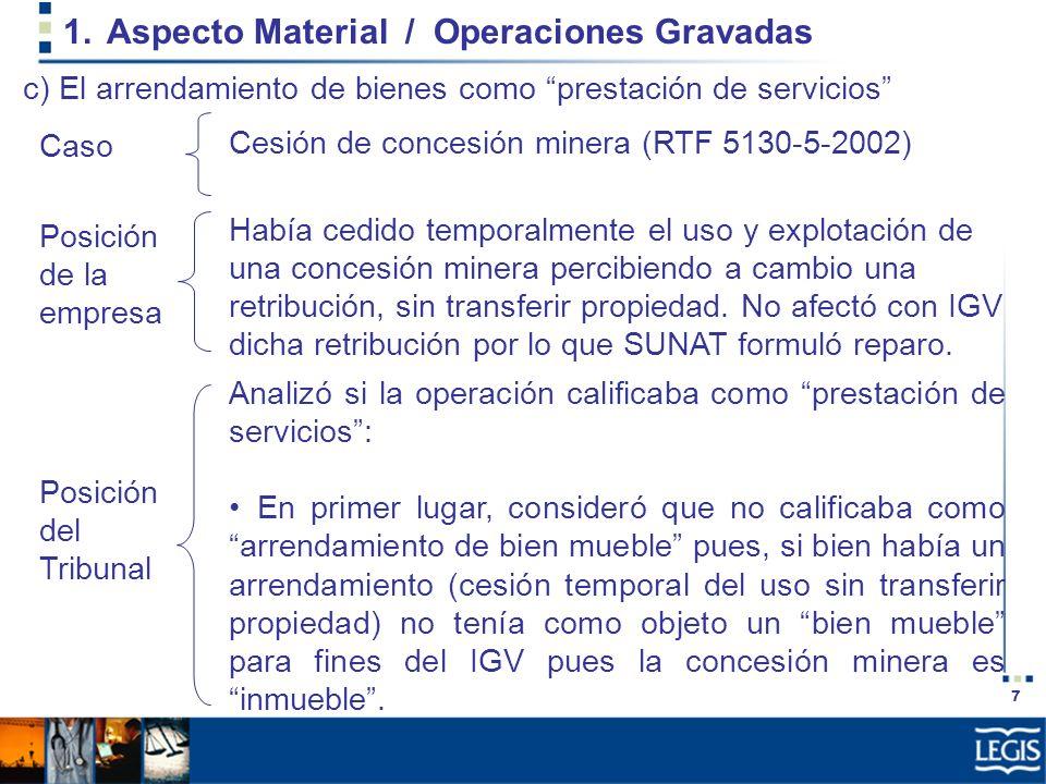 7 1.Aspecto Material / Operaciones Gravadas Había cedido temporalmente el uso y explotación de una concesión minera percibiendo a cambio una retribuci