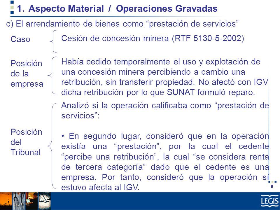 8 1.Aspecto Material / Operaciones Gravadas Había cedido temporalmente el uso y explotación de una concesión minera percibiendo a cambio una retribuci