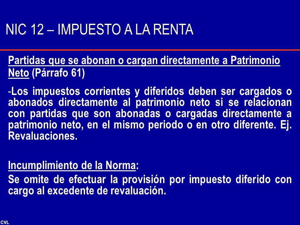 CVL Partidas que se abonan o cargan directamente a Patrimonio Neto (Párrafo 61) - Los impuestos corrientes y diferidos deben ser cargados o abonados d