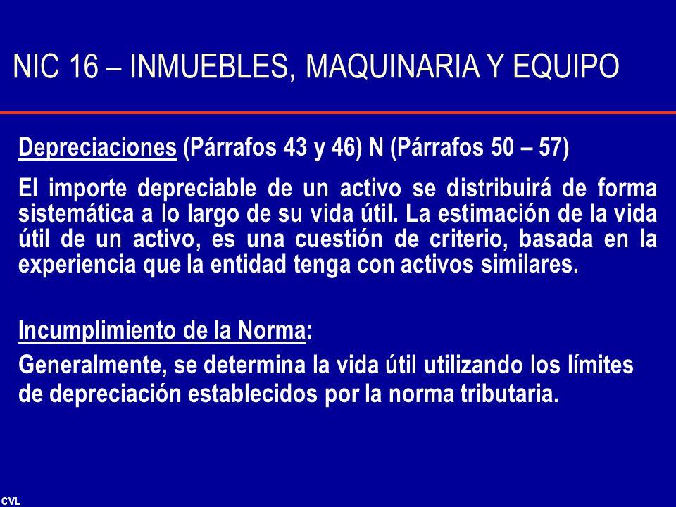 CVL Depreciaciones (Párrafos 43 y 46) N (Párrafos 50 – 57) El importe depreciable de un activo se distribuirá de forma sistemática a lo largo de su vi