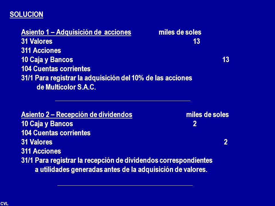 CVL SOLUCION Asiento 1 – Adquisición de accionesmiles de soles 31 Valores 13 311 Acciones 10 Caja y Bancos 13 104 Cuentas corrientes 31/1 Para registr