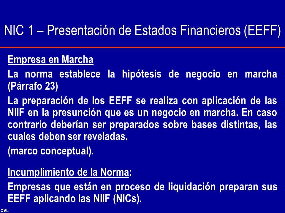CVL Empresa en Marcha La norma establece la hipótesis de negocio en marcha (Párrafo 23) La preparación de los EEFF se realiza con aplicación de las NI