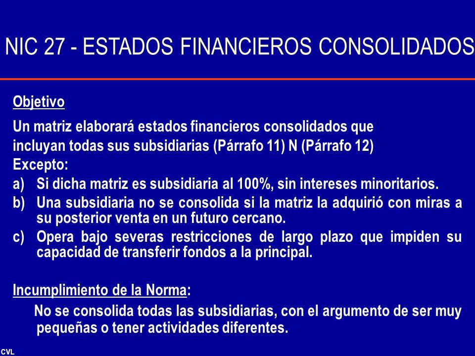 CVL Objetivo Un matriz elaborará estados financieros consolidados que incluyan todas sus subsidiarias (Párrafo 11) N (Párrafo 12) Excepto: a)Si dicha