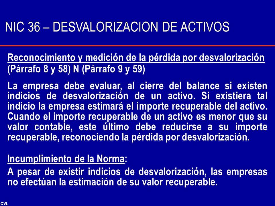 CVL Reconocimiento y medición de la pérdida por desvalorización (Párrafo 8 y 58) N (Párrafo 9 y 59) La empresa debe evaluar, al cierre del balance si
