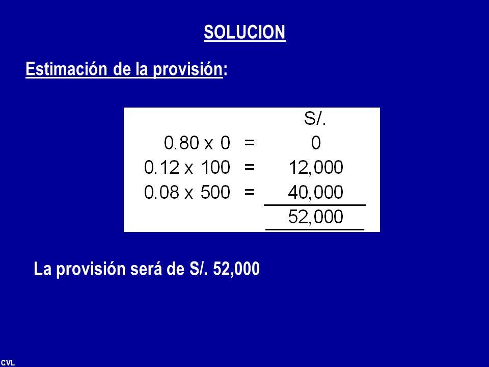 CVL Estimación de la provisión: La provisión será de S/. 52,000 SOLUCION