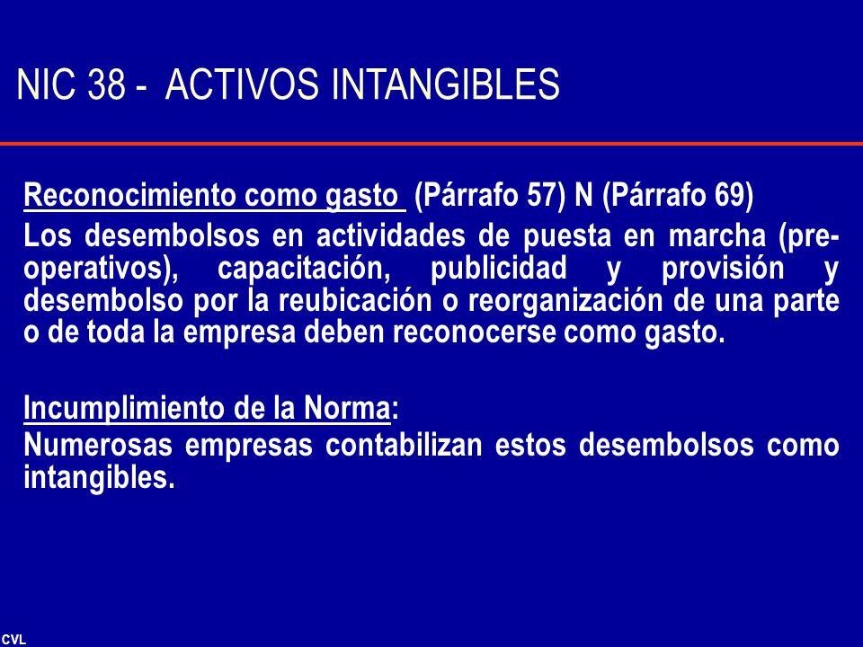 CVL Reconocimiento como gasto (Párrafo 57) N (Párrafo 69) Los desembolsos en actividades de puesta en marcha (pre- operativos), capacitación, publicid