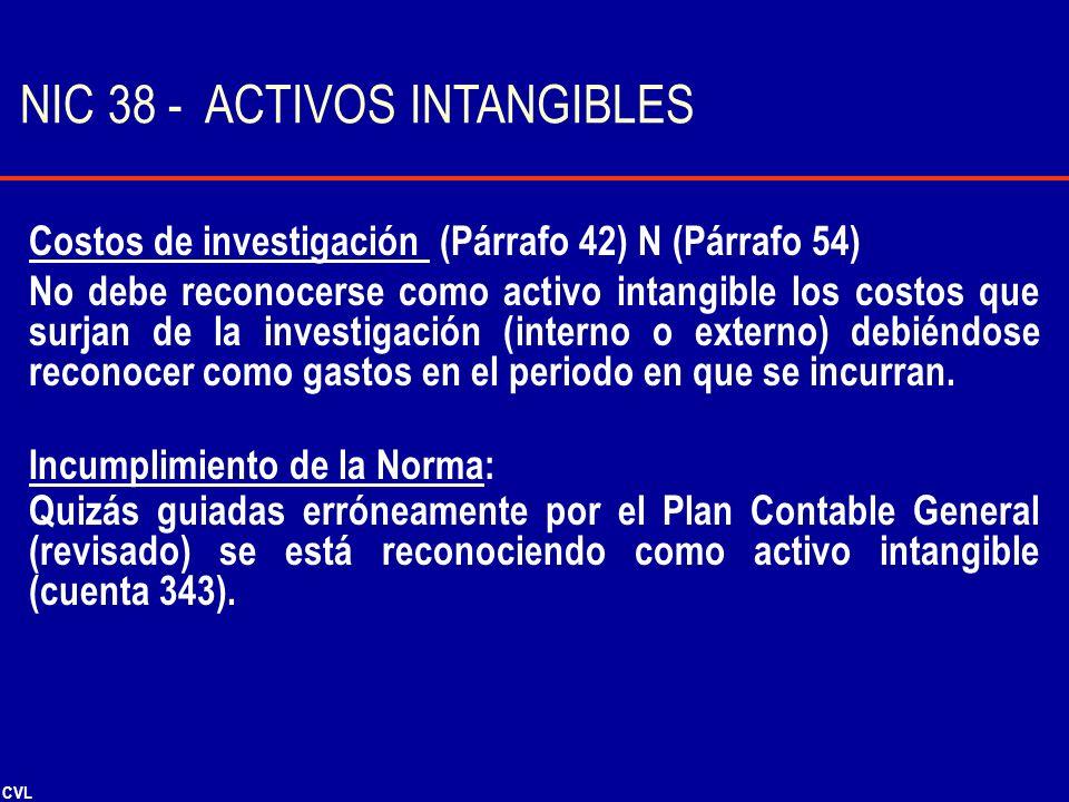 CVL Costos de investigación (Párrafo 42) N (Párrafo 54) No debe reconocerse como activo intangible los costos que surjan de la investigación (interno