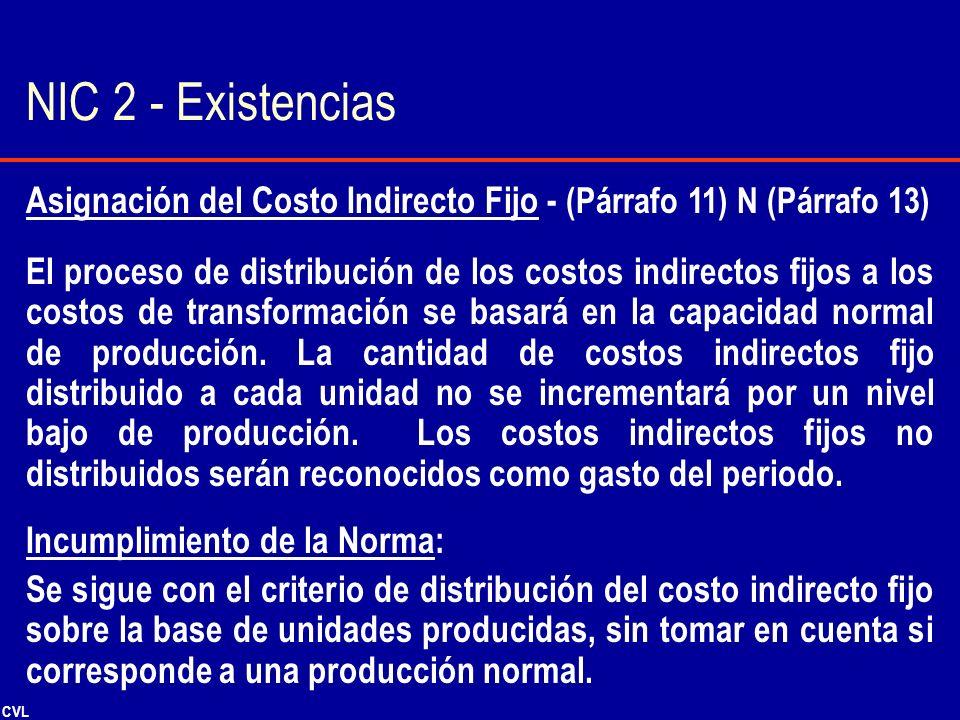 CVL Asignación del Costo Indirecto Fijo - (Párrafo 11) N (Párrafo 13) El proceso de distribución de los costos indirectos fijos a los costos de transf