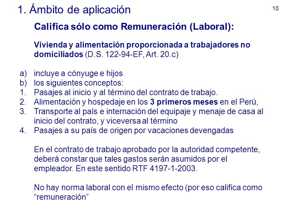 10 1. Ámbito de aplicación Califica sólo como Remuneración (Laboral): Vivienda y alimentación proporcionada a trabajadores no domiciliados (D.S. 122-9