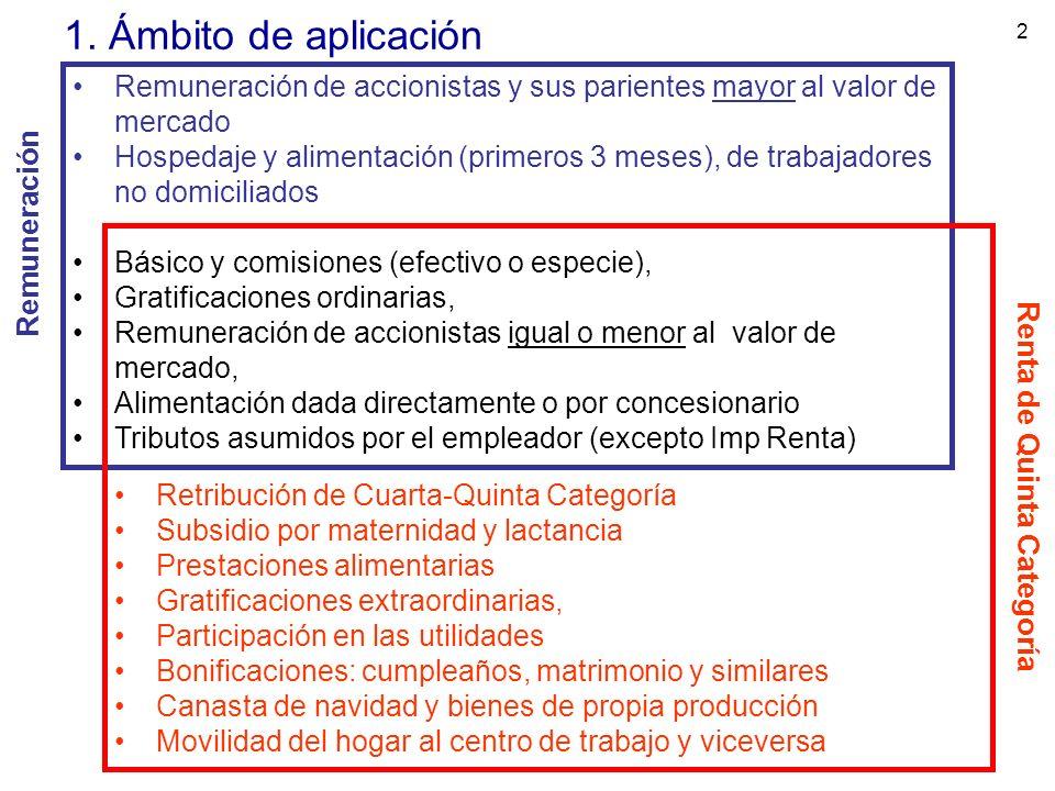 2 1. Ámbito de aplicación Remuneración de accionistas y sus parientes mayor al valor de mercado Hospedaje y alimentación (primeros 3 meses), de trabaj