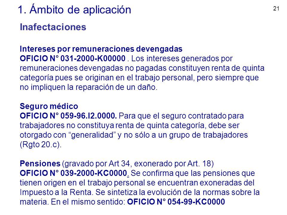 21 1. Ámbito de aplicación Inafectaciones Intereses por remuneraciones devengadas OFICIO N° 031-2000-K00000. Los intereses generados por remuneracione
