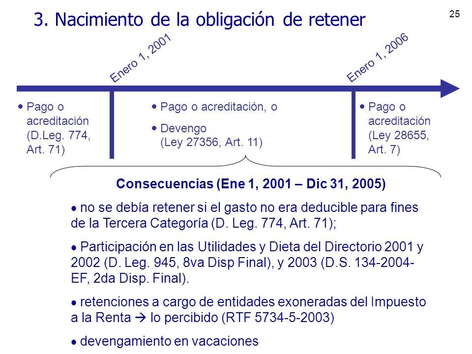 25 3. Nacimiento de la obligación de retener Pago o acreditación (D.Leg. 774, Art. 71) Pago o acreditación, o Devengo (Ley 27356, Art. 11) Enero 1, 20