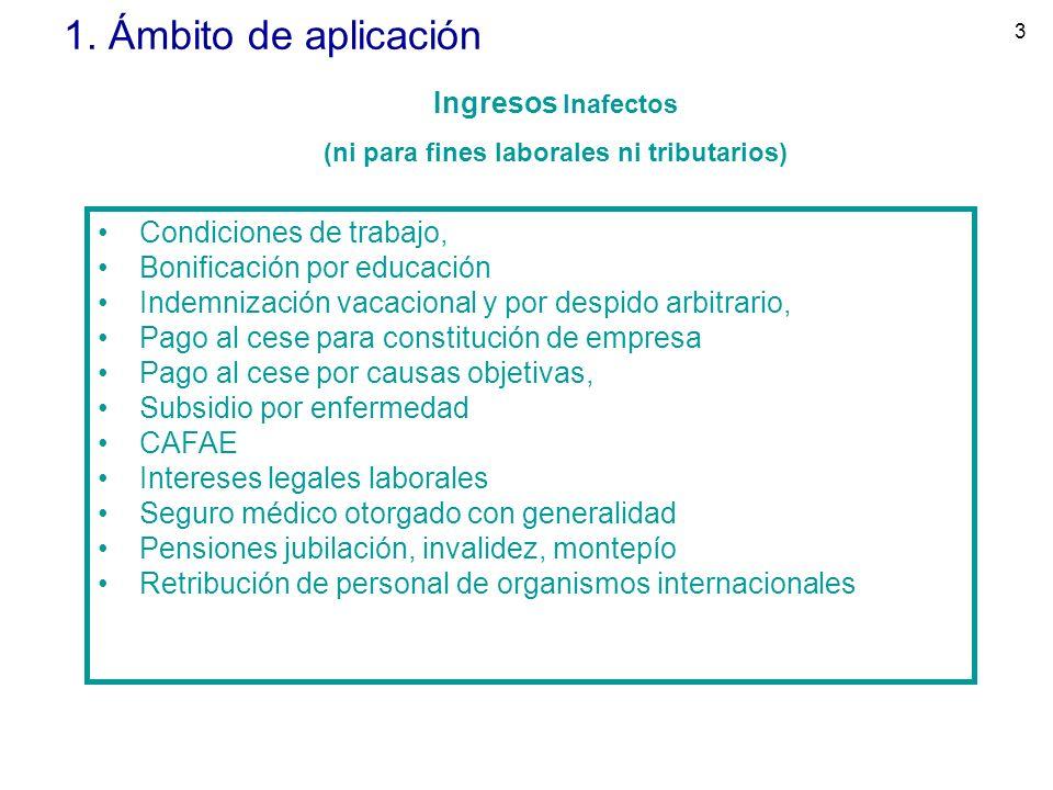 3 1. Ámbito de aplicación Condiciones de trabajo, Bonificación por educación Indemnización vacacional y por despido arbitrario, Pago al cese para cons
