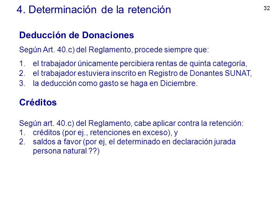 32 4. Determinación de la retención Deducción de Donaciones Según Art. 40.c) del Reglamento, procede siempre que: 1.el trabajador únicamente percibier