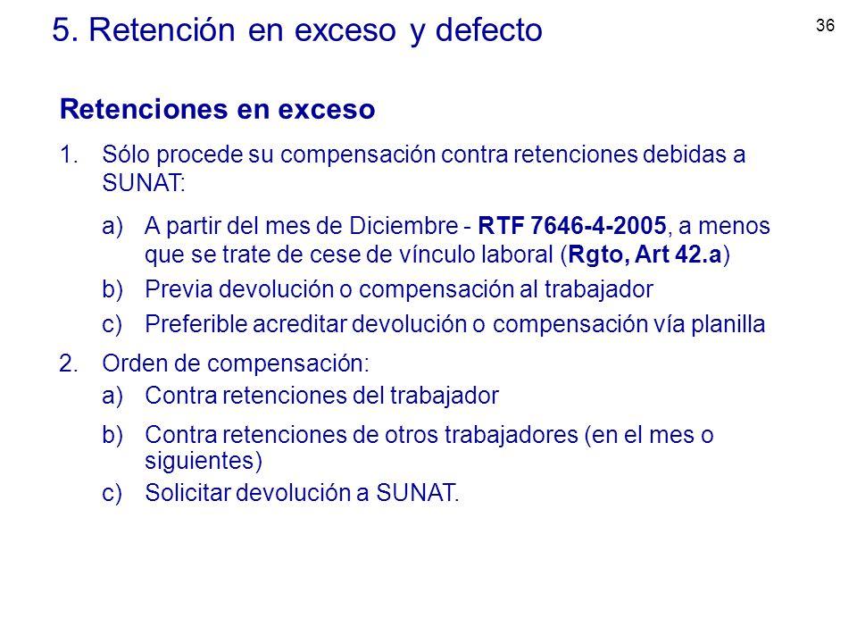 36 5. Retención en exceso y defecto Retenciones en exceso 1.Sólo procede su compensación contra retenciones debidas a SUNAT: a)A partir del mes de Dic