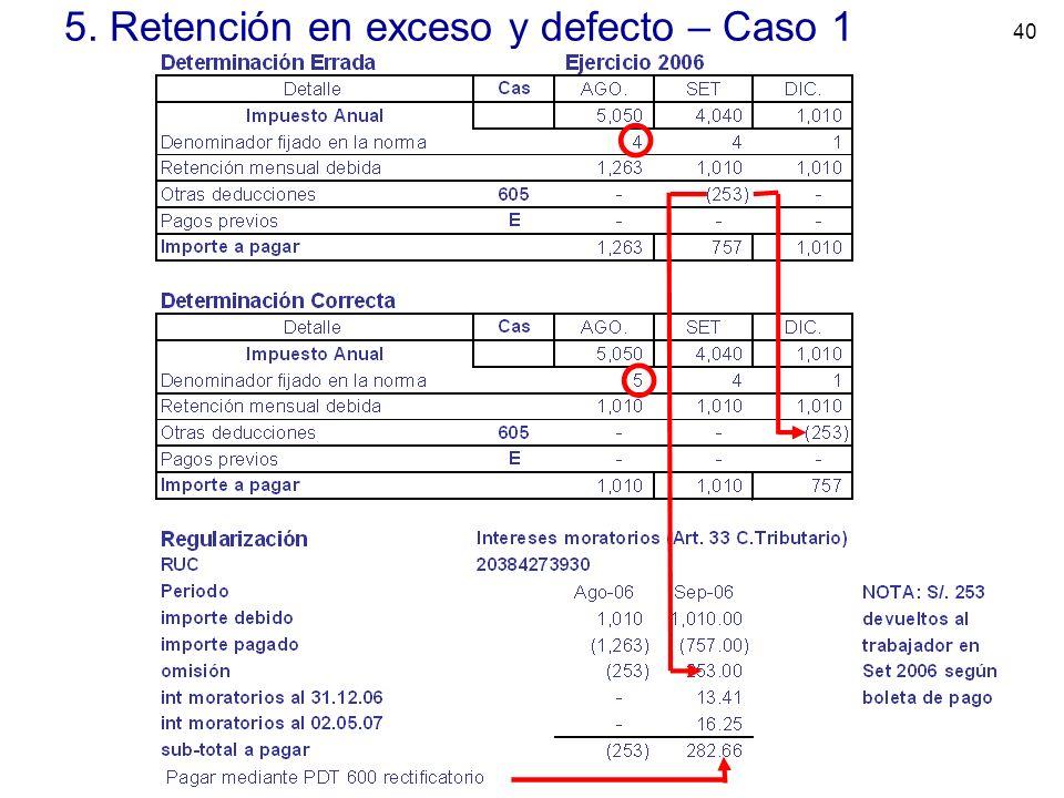 40 5. Retención en exceso y defecto – Caso 1
