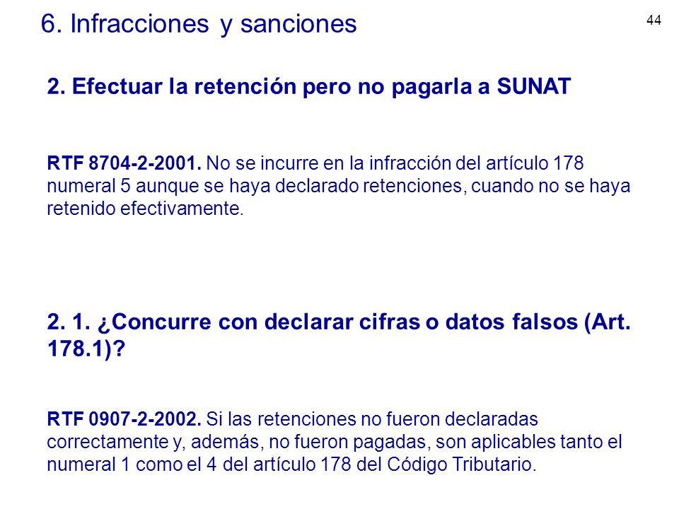 44 6. Infracciones y sanciones 2. Efectuar la retención pero no pagarla a SUNAT RTF 8704-2-2001. No se incurre en la infracción del artículo 178 numer