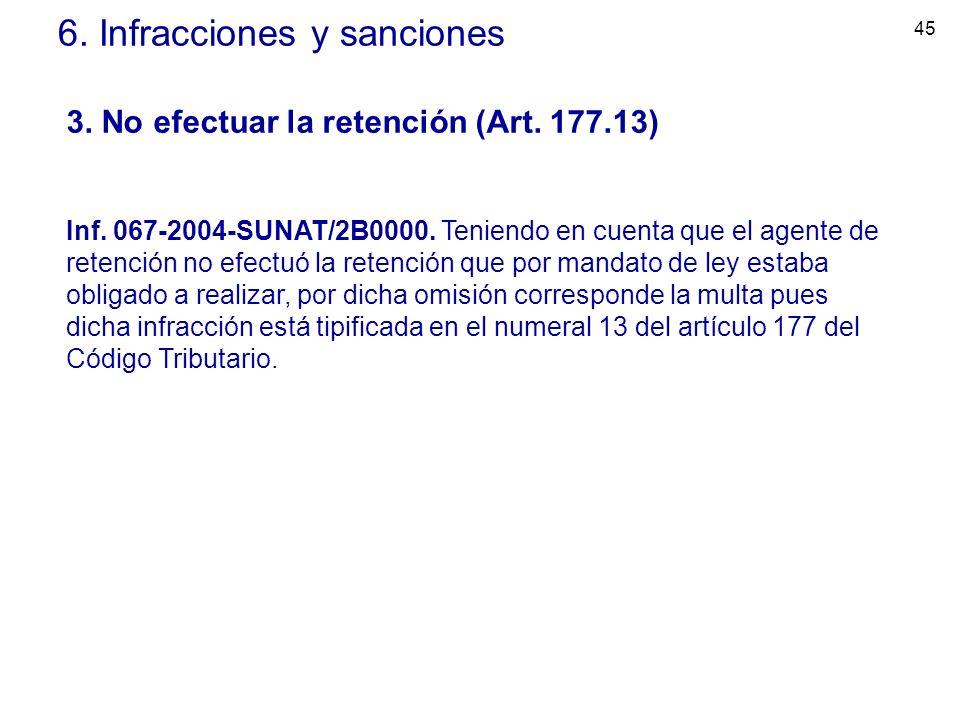 45 6. Infracciones y sanciones 3. No efectuar la retención (Art. 177.13) Inf. 067-2004-SUNAT/2B0000. Teniendo en cuenta que el agente de retención no