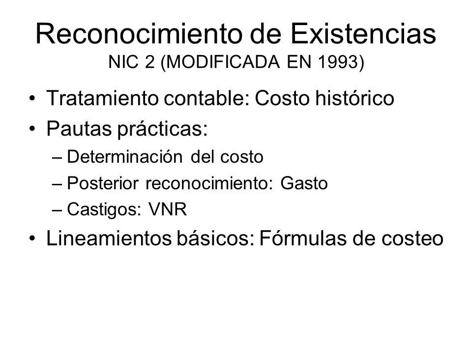 Definición de existencias NIC 2, p.4 Mantenidos para su venta en el curso ordinario de los negocios.