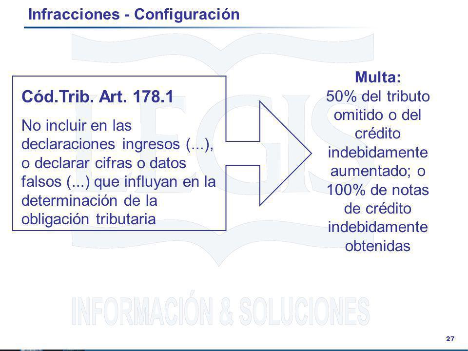 27 Infracciones - Configuración Cód.Trib. Art. 178.1 No incluir en las declaraciones ingresos (...), o declarar cifras o datos falsos (...) que influy